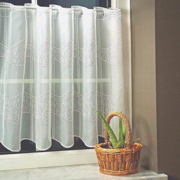 LAJTA, ekrü, hímzett vitrázs függöny, 30 cm magas