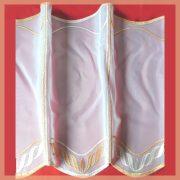 Hímzett, fehér voile vitrázs függöny, narancssárga mintával - 30 cm
