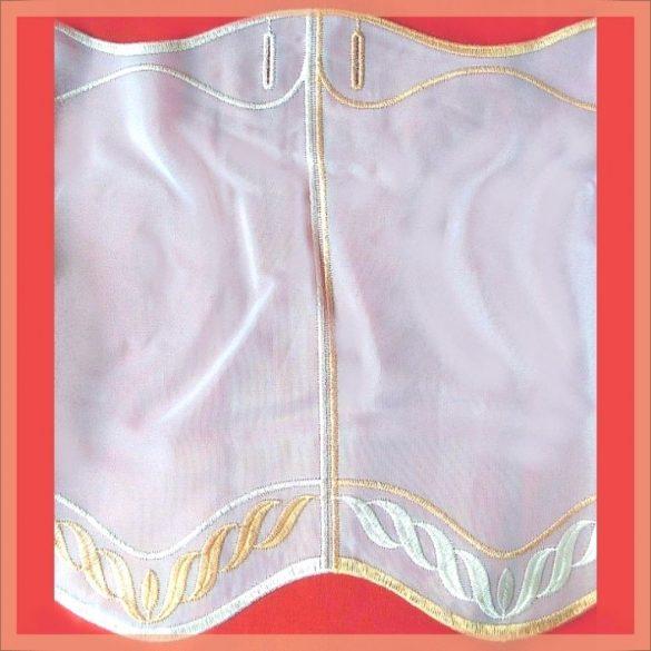 CUHA, hímzett, fehér voile vitrázs függöny, narancssárga mintával - 30 cm magas