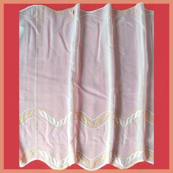 CUHA, hímzett, fehér voile vitrázs függöny, narancssárga mintával