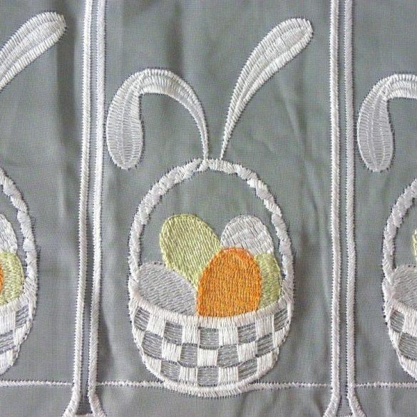 HÚSVÉT, tojáskosár mintás hímzett vitrázs függöny