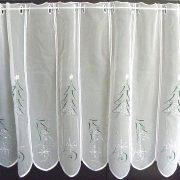 TANNENBAUM, karácsonyi mintás, zölddel és ezüsttel hímzett vitrázs függöny