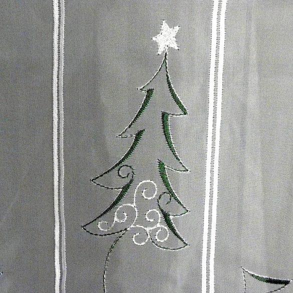 TANNENBAUM, karácsonyi mintás, zölddel és ezüsttel hímzett vitrázs függöny - maradék darab