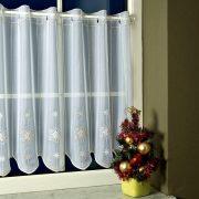 HÓPEHELY, karácsonyi mintás, arannyal és fehérrel hímzett vitrázs függöny
