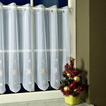 Karácsonyi mintás, hímzett vitrázs függöny, hópehely, arany