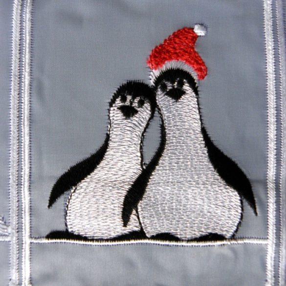 PINGVIN, karácsonyi mintás, hímzett vitrázs függöny
