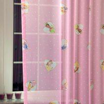 CINDERELLA, hercegnők mintás rózsaszín fényáteresztő voile függöny anyag