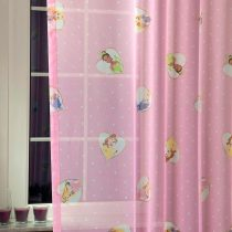 CINDERELLA, hercegnők mintás rózsaszín fényáteresztő voile függöny anyag, maradék darab: 1,35 m