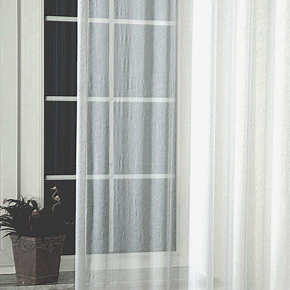 Gyűrt voile függönyanyag méteráru, fehér, 280 cm magas