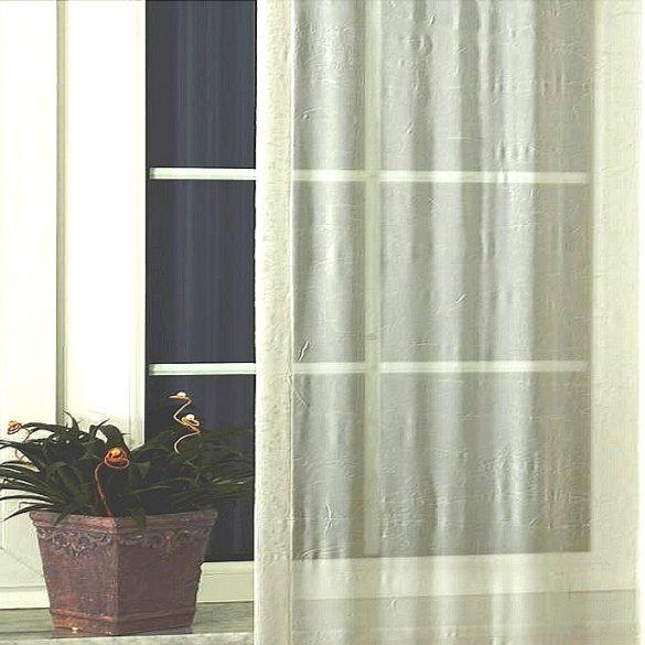 Gyűrt voile függöny anyag méteráru, 02 ekrü 270 cm magas
