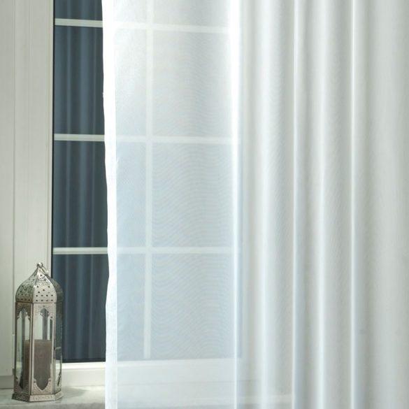 Fehér, egyszínű voile fényáteresztő függöny, 295 cm magas