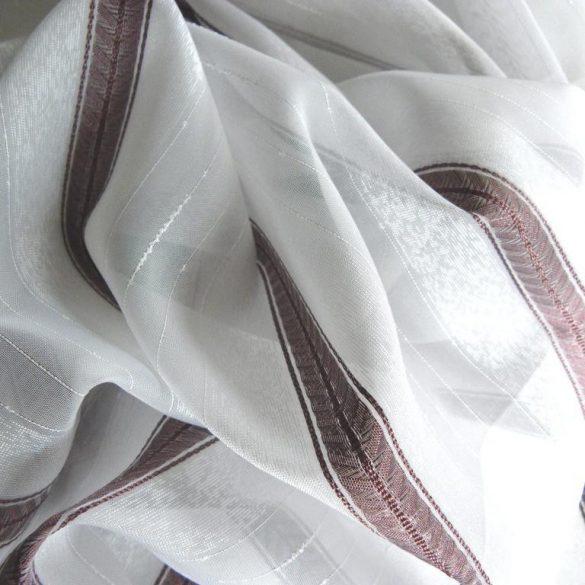 Fehér voile fényáteresztő függöny anyag, padlizsánlila selyemfényű csíkmintával