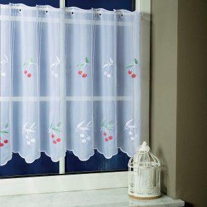 CHERRY, cseresznye mintás hímzett vitrázsfüggöny anyag