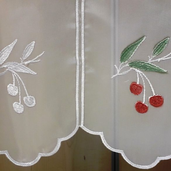 CHERRY, cseresznye mintás hímzett vitrázsfüggöny anyag, 60 cm magas