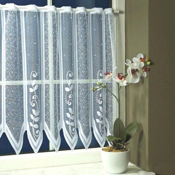 Vitrázs függöny, cakkos-indás fehér, 30 cm magas