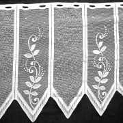 Vitrázs függöny, cakkos-indás fehér, 45 cm magas
