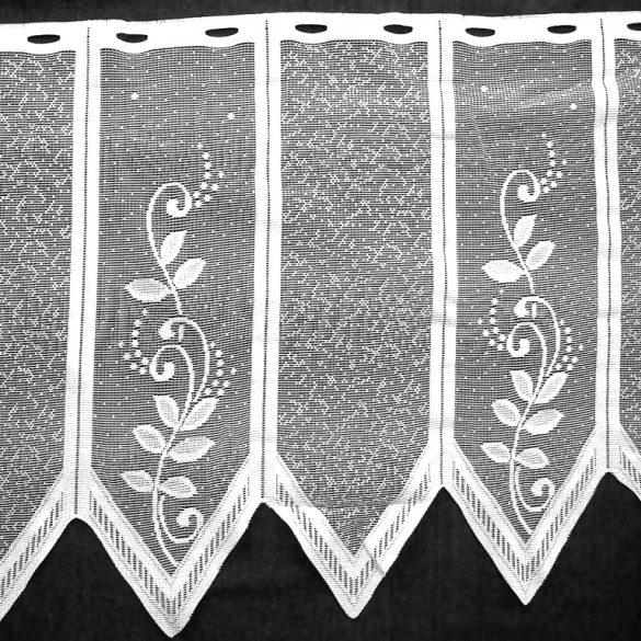 Vitrázs függöny, cakkos-indás fehér, 45 cm magas - maradék darabok