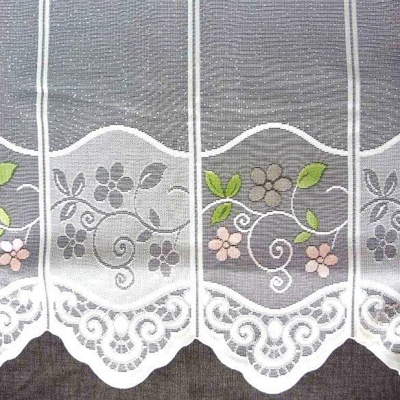 BOGLÁRKA, virágmintás  jacquard csipke vitrázsfüggöny anyag - 60 cm