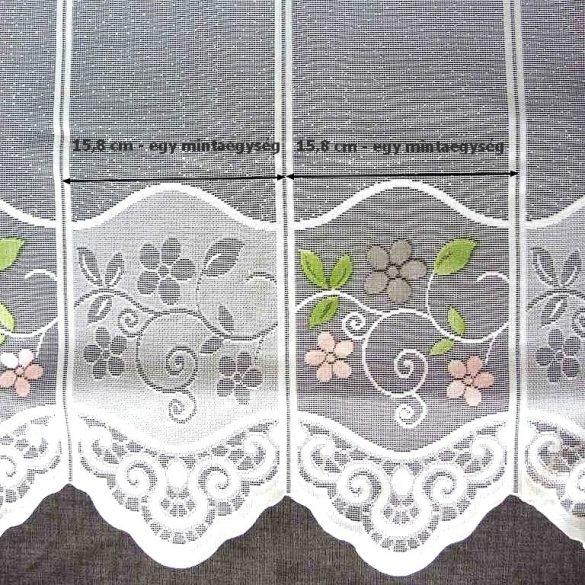 BOGLÁRKA, virágmintás jacquard csipke vitrázsfüggöny anyag
