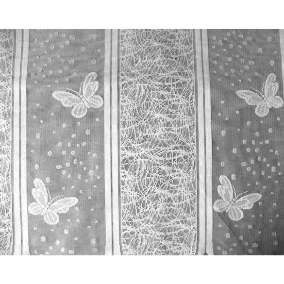 Fehér vitrázsfüggöny pillangós mintával - 60 cm magas - maradék darab