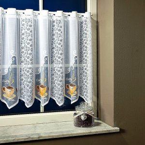 CAFÉ, vitrázs függöny, jacquard csipke, kávés mintával - 60 cm