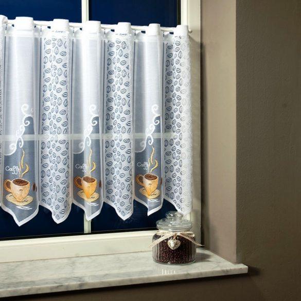 CAFÉ, vitrázs függöny, jacquard csipke, kávés mintával - 60 cm - maradék darabok