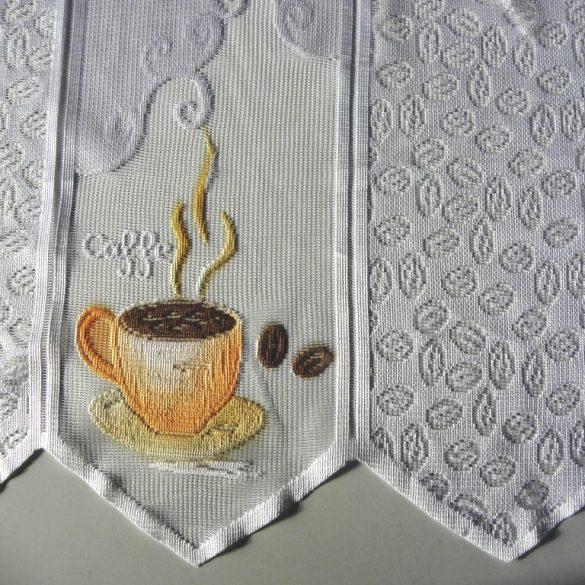 CAFÉ, vitrázs függöny, jacquard csipke, kávés mintával
