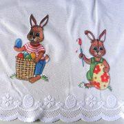 NYUSZIK húsvéti mintás, nyuszis, jacquard csipke vitrázsfüggöny anyag - 60 cm magas