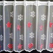 BLISS, karácsonyi piros mintás, jacquard vitrázs függöny