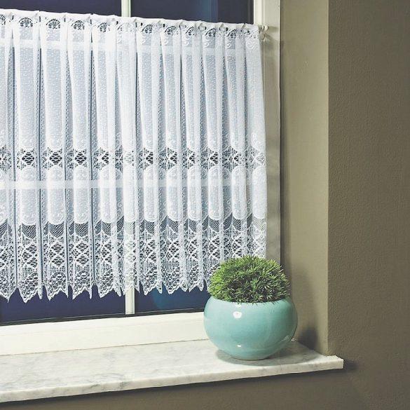 Fehér vitrázsfüggöny vintage csipkés, 90 cm magas