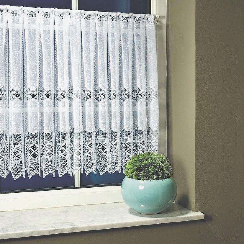 Fehér vitrázsfüggöny vintage csipkés. 90 cm magas vitrázs függöny ... 8f66eabd5a