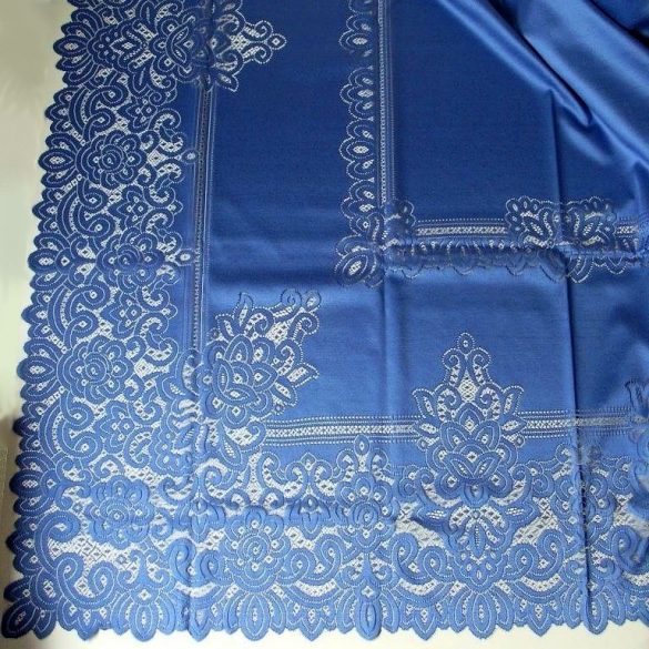 Jacquard csipke terítő, extra nagy méret, kék - 150 x 230 cm