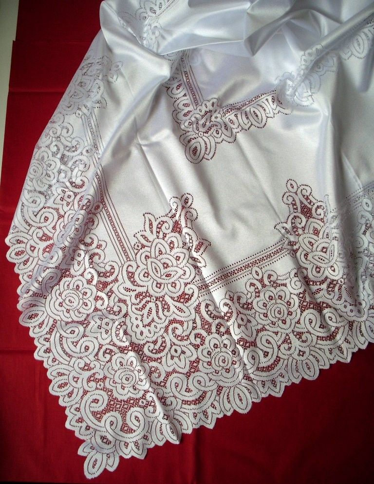 cf9c030696 Jacquard csipke terítő, fehér .