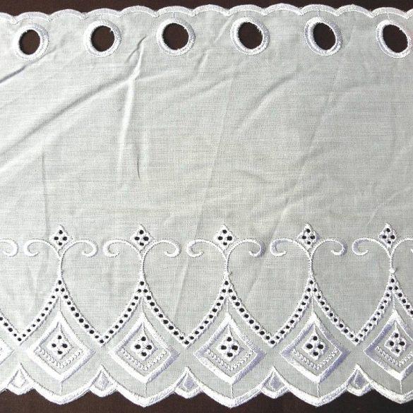 GARAM fehér hímzett batiszt vitrázsfüggöny 30 cm magas