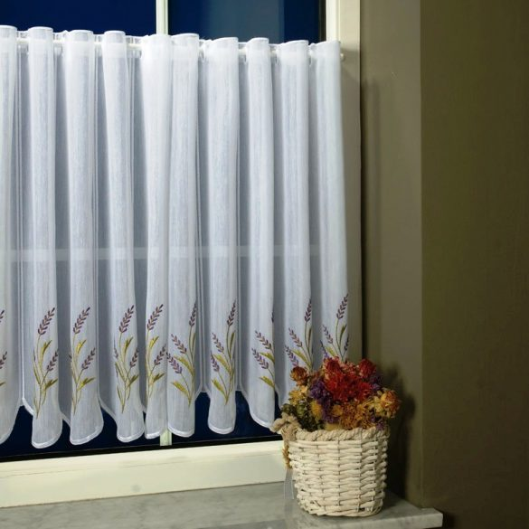 TIHANY, levendula mintás, fehér hímzett batiszt vitrázsfüggöny 60 cm magas