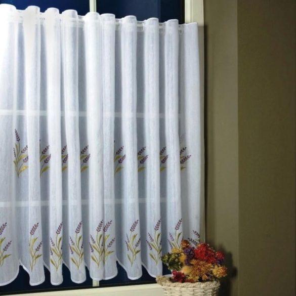 TIHANY, levendula mintás, fehér hímzett batiszt vitrázsfüggöny 90 cm magas