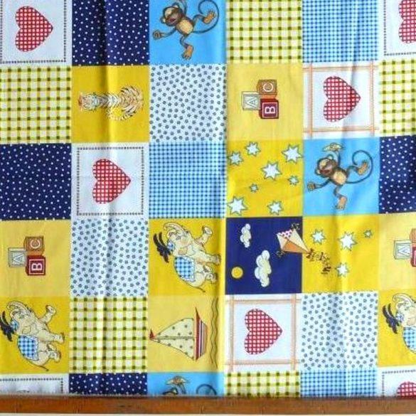 CHECKY, szíves, állatos, patchwork mintás pamut vászon