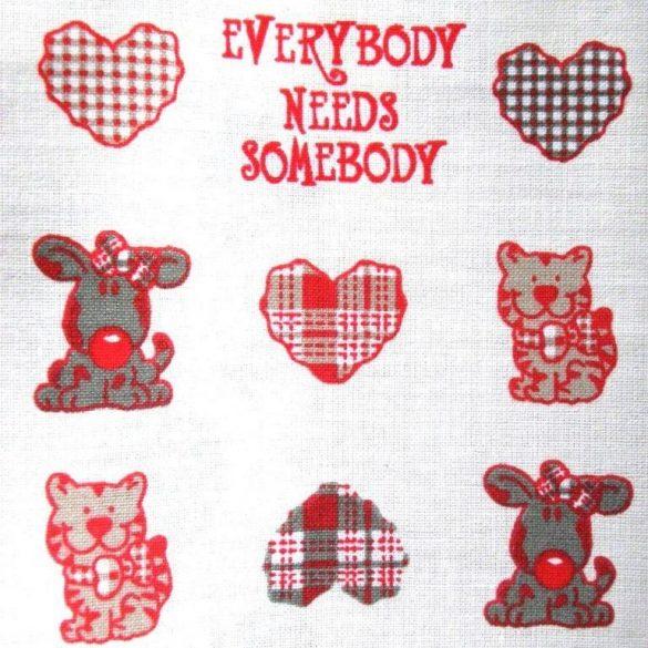LOVE, kutyus, cica mintás pamut vászon