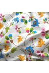 CORUJA, színes bagoly, virág mintás gyerektextil pamutvászon méteráru