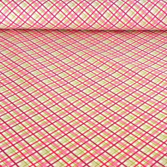 Dia, átlós, pink-zöld kockás lakástextil, dekorvászon