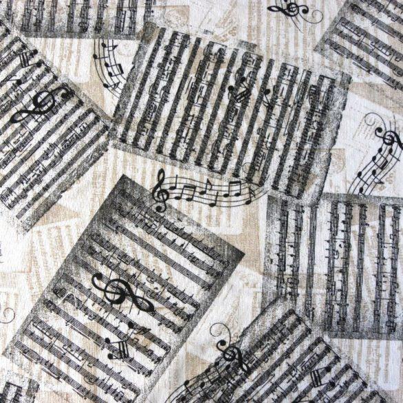 Partitúra, kotta mintás lakástextil dekorvászon