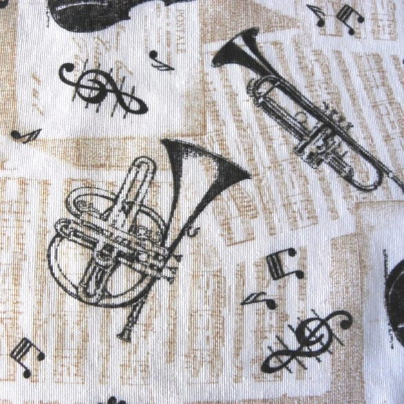 Muzsika, kotta, hangszer mintás lakástextil dekorvászon