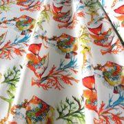 VERAS, vitorláshal, korall mintás lakástextil, dekorvászon, türkiz-narancs