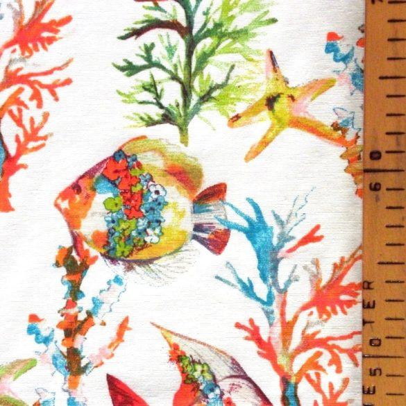 Ariel, vitorláshal, korall mintás lakástextil, dekorvászon, türkiz-narancs