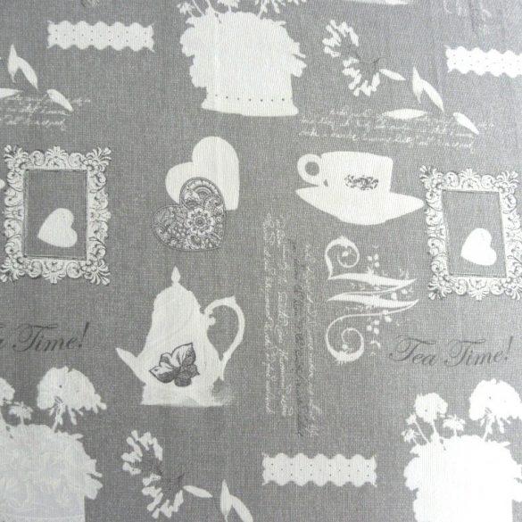 TEA TIME, szürke, vintage mintás lakástextil, dekorvászon