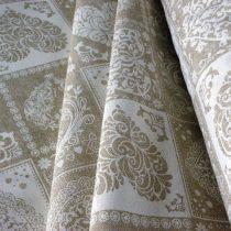 Spanyol lakástextil, dekorvászon szíves, natúr-fehér, 140 cm széles