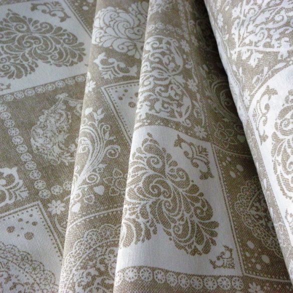 Spanyol lakástextil, dekorvászon szíves, natúr-fehér