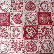Spanyol lakástextil, dekorvászon szíves, natúr-bordó - 140 cm széles