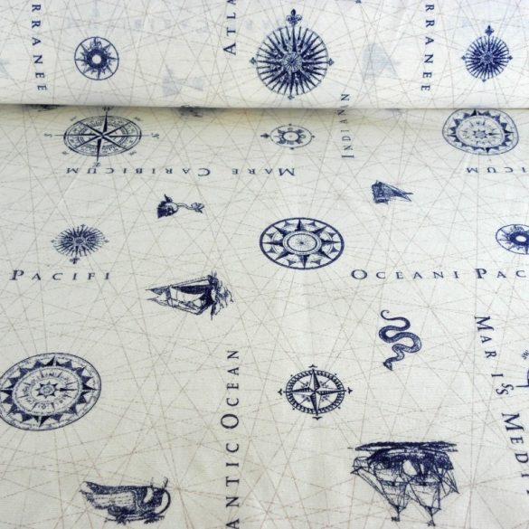 CARTA NAUTICA, hajós mintás lakástextil dekorvászon