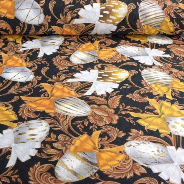 ARANYTOJÁS, fekete-arany, húsvéti tojás mintás lakástextil dekorvászon
